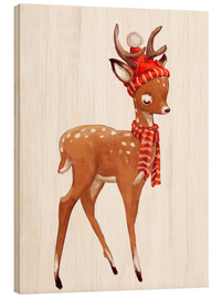 Wood print  Winter deer with scarf and hat - Kidz Collection