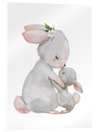 Acrylic print  Cute white bunnies - mother with child - Kidz Collection