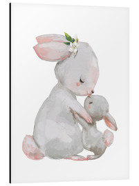 Aluminium print  Cute white bunnies - mother with child - Kidz Collection