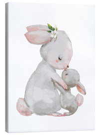 Canvas print  Cute white bunnies - mother with child - Kidz Collection