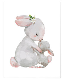 Poster  Cute white bunnies - mother with child - Kidz Collection