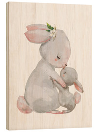 Wood print  Cute white bunnies - mother with child - Kidz Collection