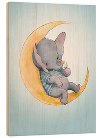 Wood print  Elephant in the moon - Kidz Collection