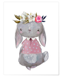 Premium poster Summer bunny with flowers in her hair