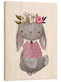 Wood print  Summer bunny with flowers in her hair - Kidz Collection