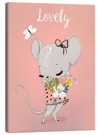 Canvas print  Little mouse on pink - Kidz Collection