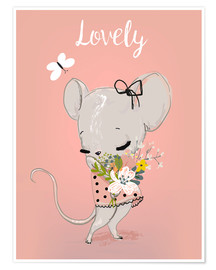 Poster  Little mouse on pink - Kidz Collection