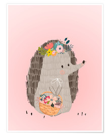 Premium poster  Mrs. hedgehog with basket - Kidz Collection