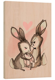 Wood print  Family Hare - Kidz Collection