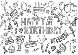 Colouring poster  Happy Birthday