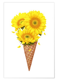 Premium poster Ice cream with sunflowers