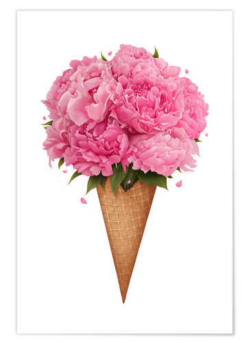 Premium poster Ice cream with peonies