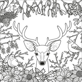 Colouring poster  Deer in the forest