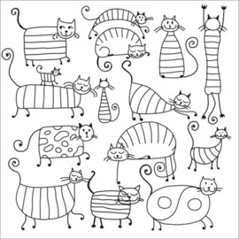 Colouring poster  Striped cats