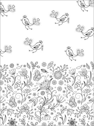 Colouring poster Birds with flower meadow