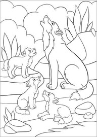 Colouring poster Wolf family
