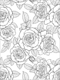 Colouring poster Country house roses