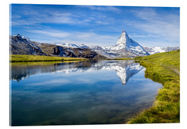 Acrylic print  Matterhorn and Stellisee in the Swiss Alps, canton of Valais, Switzerland - Jan Christopher Becke