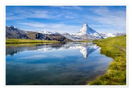 Premium poster  Matterhorn and Stellisee in the Swiss Alps, canton of Valais, Switzerland - Jan Christopher Becke
