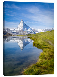 Canvas print  Matterhorn and Stellisee in the Swiss Alps, canton of Valais, Switzerland - Jan Christopher Becke