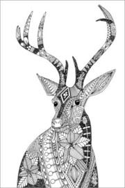 Colouring poster Imaginative deer