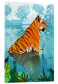 Acrylic glass  Tiger in the creek - Uma 83 Oranges