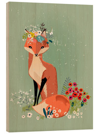 Wood print  Fox in the spring - Kidz Collection