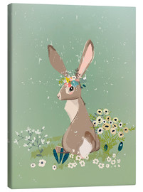 Canvas  Rabbit with wildflowers - Kidz Collection