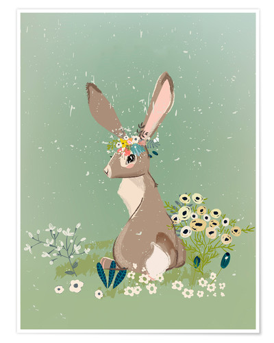 Premium poster Rabbit with wildflowers