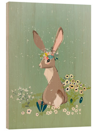 Wood print  Rabbit with wildflowers - Kidz Collection