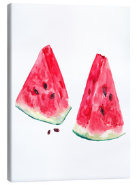Canvas  watercolor slices of watermelon