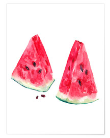 Poster  watercolor slices of watermelon