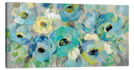 Canvas  Fresh Teal Flowers - Silvia Vassileva
