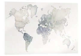 Acrylic print  World map watercolor - Laura Marshall