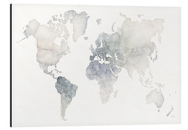 Aluminium print  World map watercolor - Laura Marshall