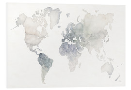 Foam board print  World map watercolor - Laura Marshall