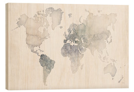 Wood  World map watercolor - Laura Marshall