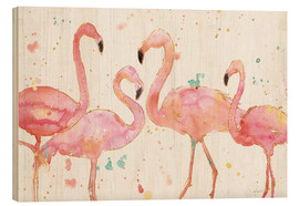 Wood print  Flamingo fever I - Anne Tavoletti