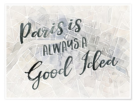 Poster  Watercolor Wanderlust Paris Adventure - Laura Marshall