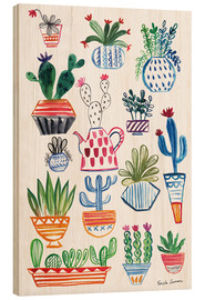 Wood print  Funky Cactus Collage I - Farida Zaman