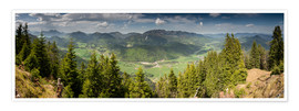 Premium poster Panoramic View of Jachenau Valley, Bavaria, Germany