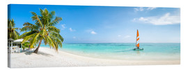 Canvas  Maldives beach panorama with sailboat - Jan Christopher Becke