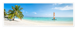 Premium poster  Maldives beach panorama with sailboat - Jan Christopher Becke