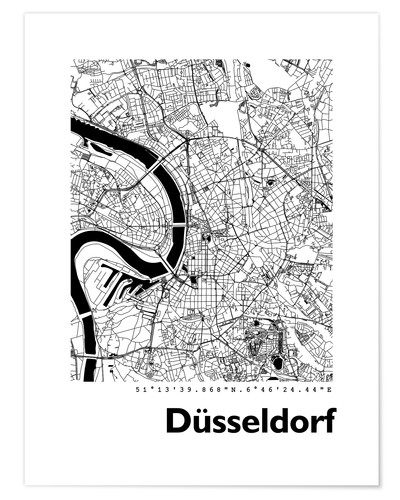 art karte düsseldorf City map of Dusseldorf Posters and Prints | Posterlounge.com