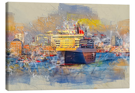 Canvas print  Hamburg Queen Mary II, in the background the Elbphilharmonie - Peter Roder