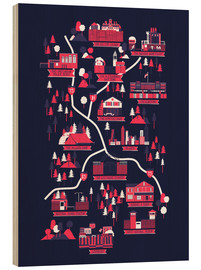 Wood print  The Walking Dead Map - Robert Farkas