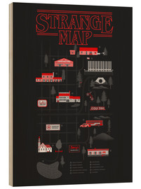 Wood print  Stranger Things map - Robert Farkas