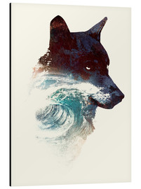 Aluminium print  Wolf and wave - Robert Farkas