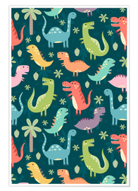 Premium poster Colorful dinosaurs