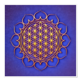 Premium poster  Flower of Life Lotus - Golden Shine On Blue Beauty - Dirk Czarnota